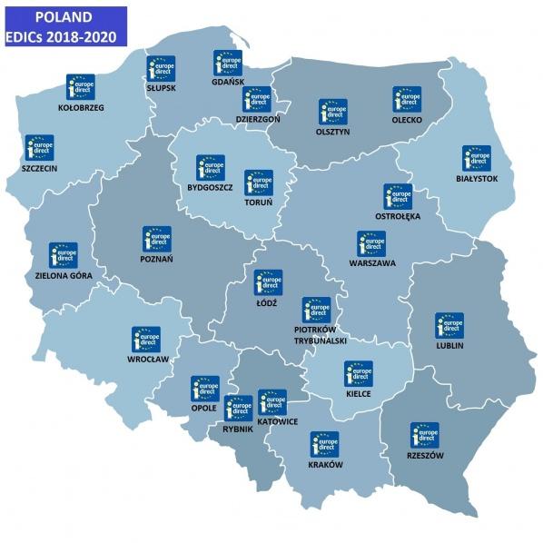 Mapa Punktów Informacji Europejskiej Europe Direct